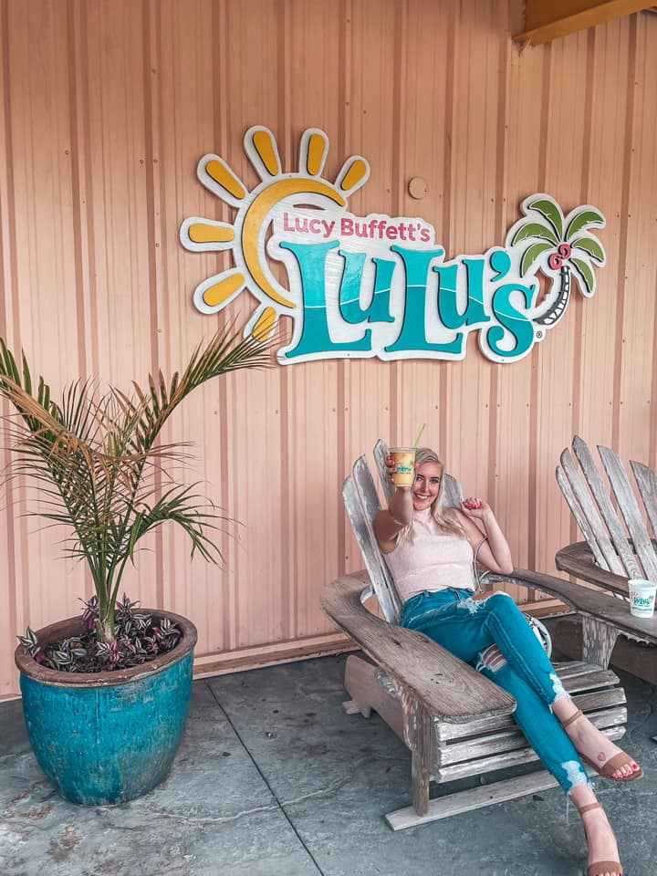 Relaxing with mango pina colada outside of Lulus