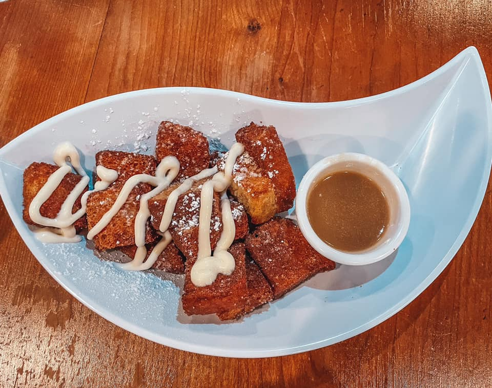 French toast bites and praline sauce from Ruby Slipper Cafe in Orange Beach, Alabama