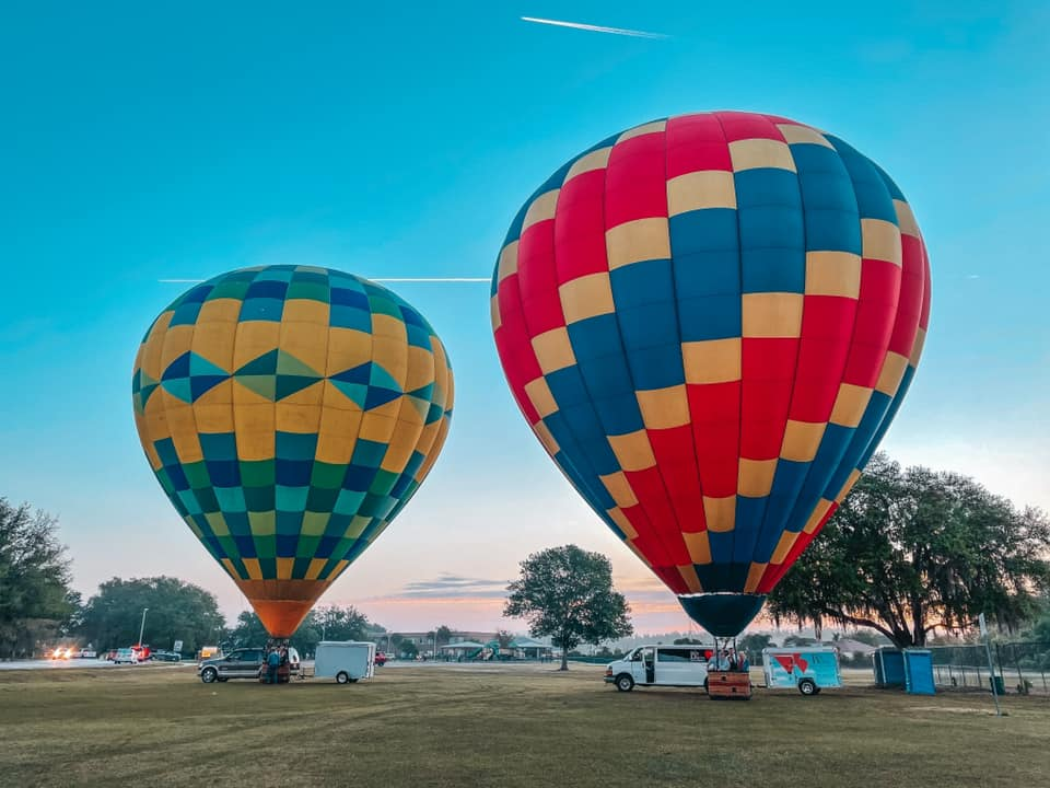 Two of the hot air balloons used for Big Red Balloon in Tampa
