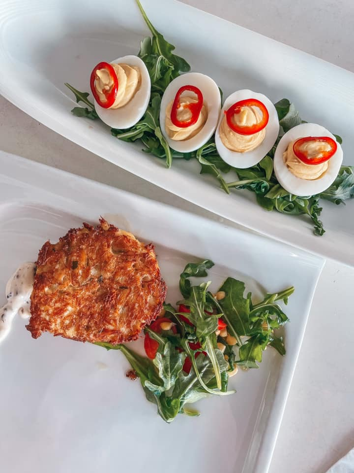 deviled eggs and crab cake from Sea Salt