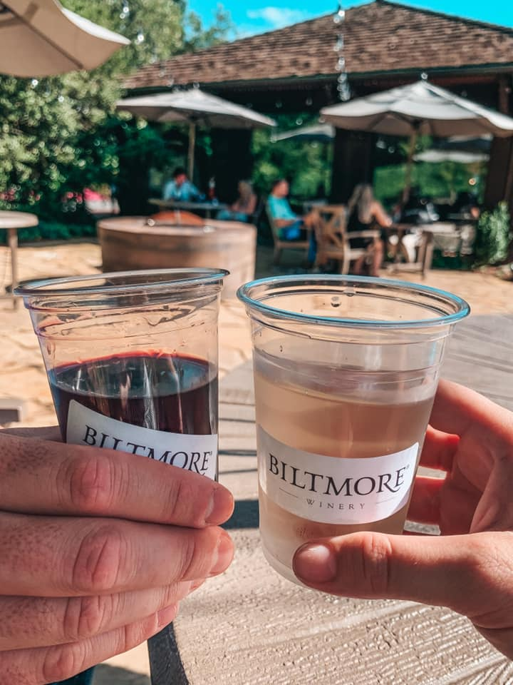 toasting a red and white wine at the Biltmore Winery