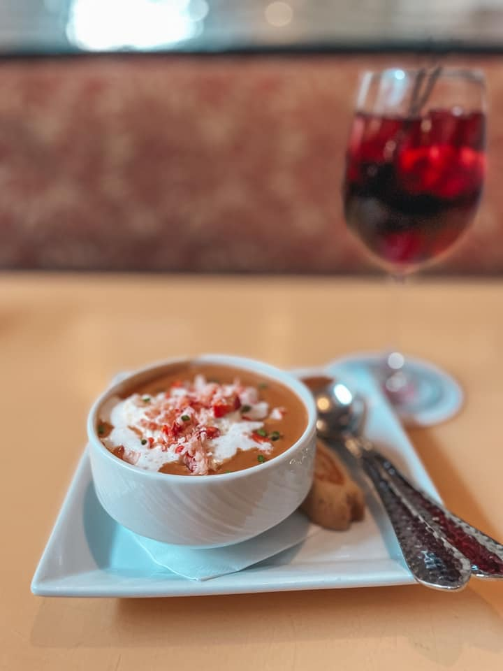Lobster Bisque and sangria from Guppies