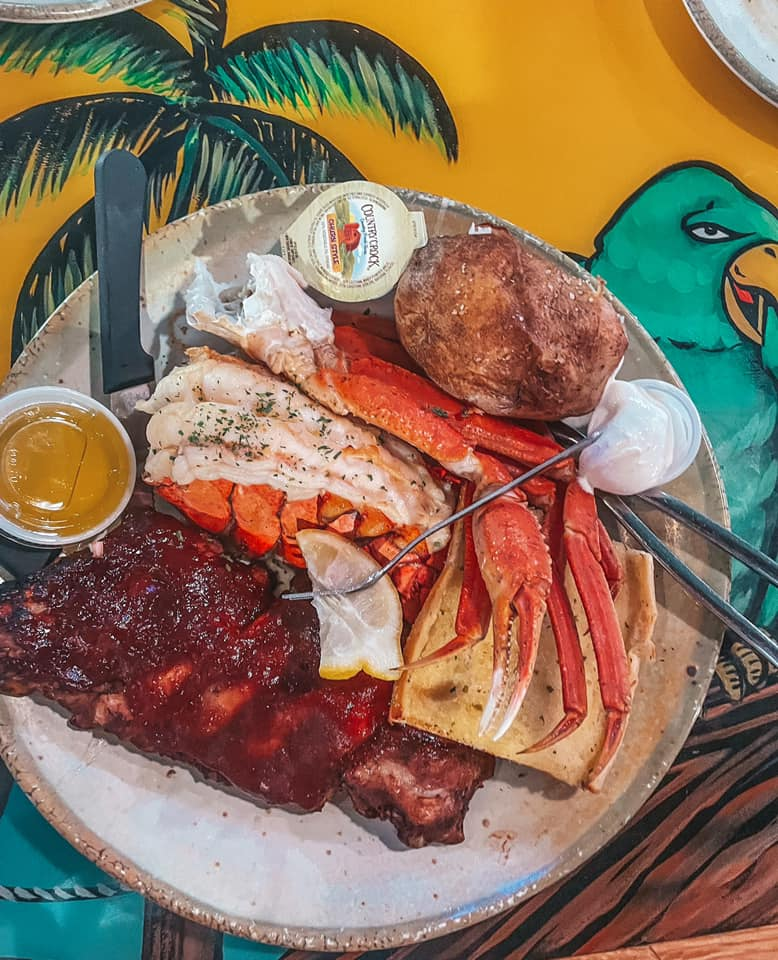 PJ's combo platter with lobster, ribs, and crab legs. One of the best restaurants in Indian rocks beach.