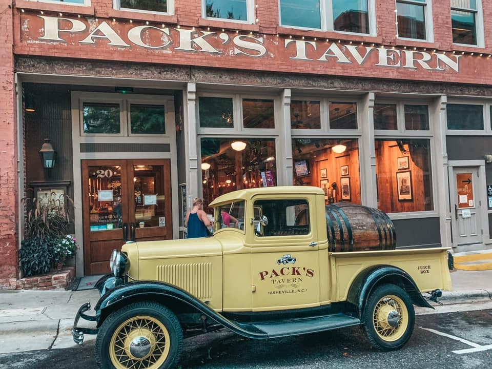 old truck in front of Pack's Tavern