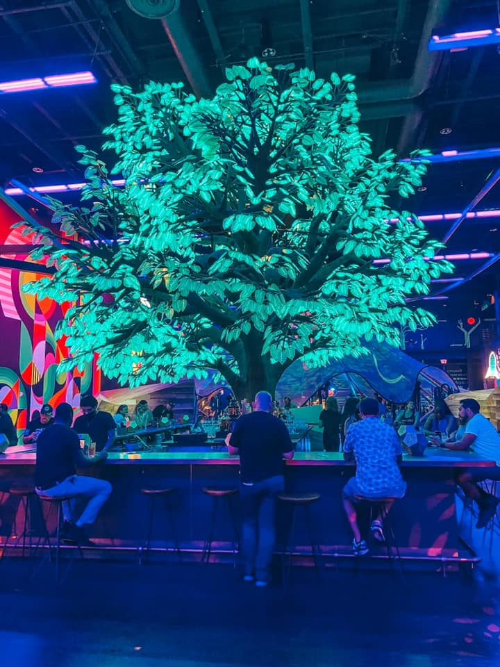 neon glowing tree and bar area inside of Area 15 in Vegas