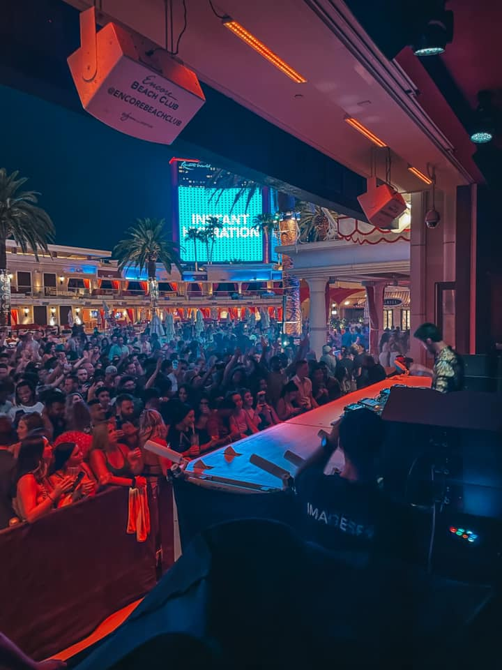 views from the DJ area at Encore Beach Club at night in Vegas