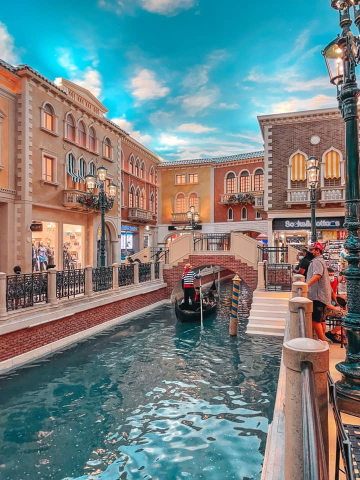 Grand Canal and gondola ride inside of The Venetian