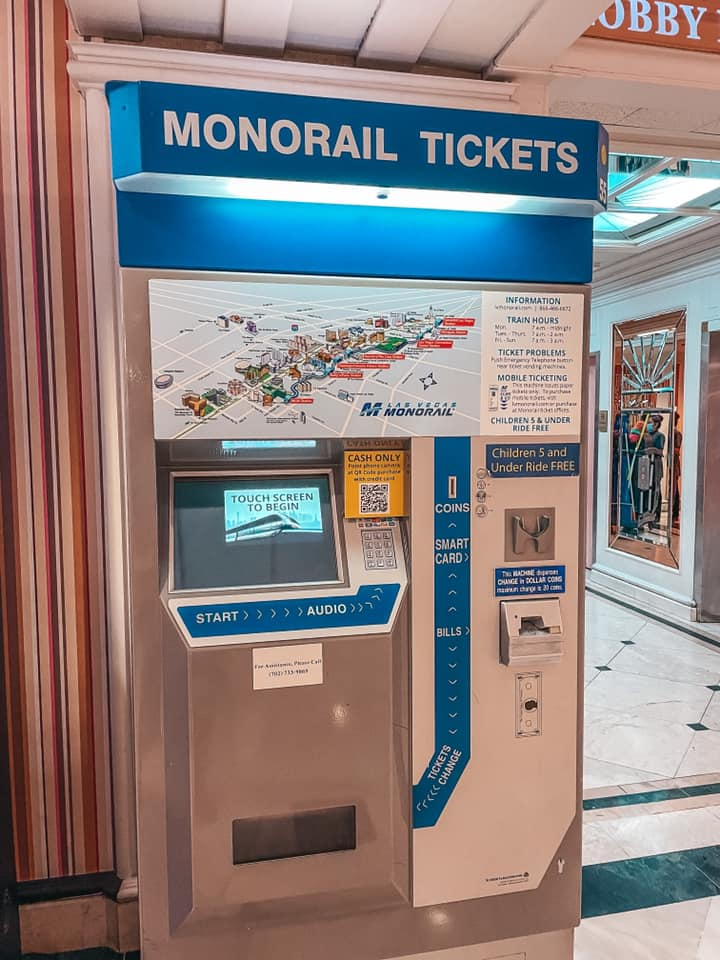 Monorail ticket kiosk, a great way to save money on transportation in Vegas