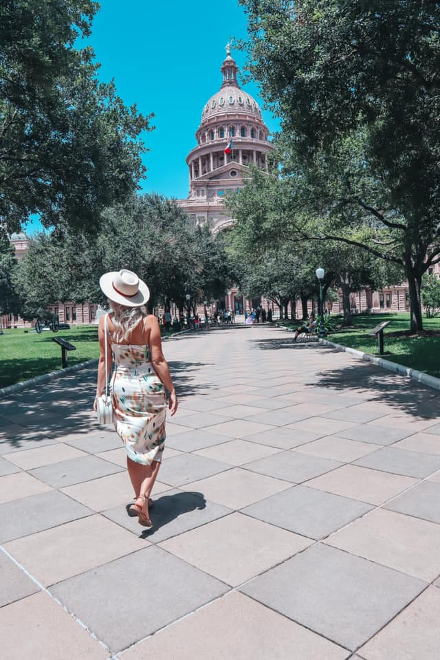walking up to the Texas State Capitol in Austin