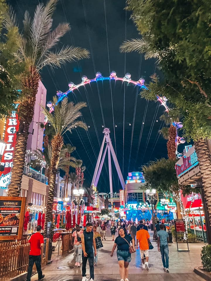 The Linq promenade with the observatory wheel lit up in the background
