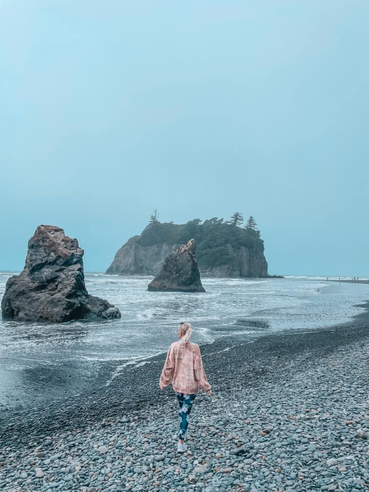 Walking Ruby Beach at Olympic National Park