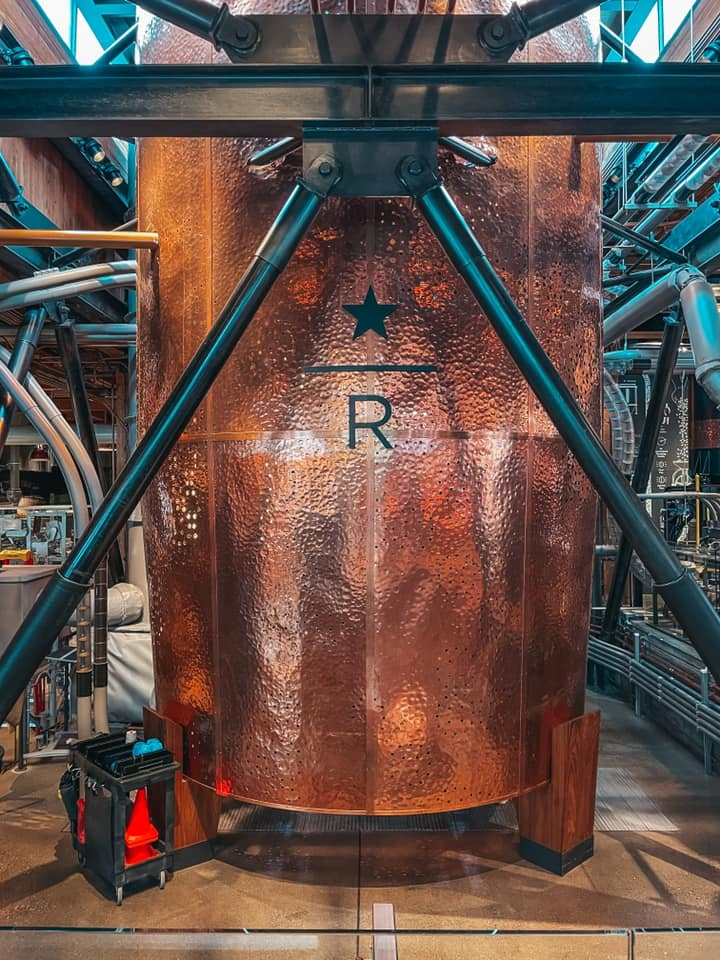 Seattle Starbucks Reserve Roastery copper cask for holding roasted coffee beans