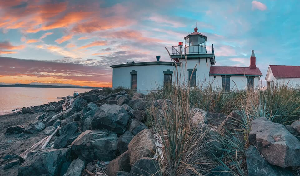 Lighthouse at Discovery Park at sunset