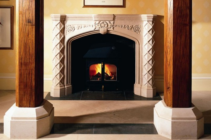 stone fireplace in ambient light