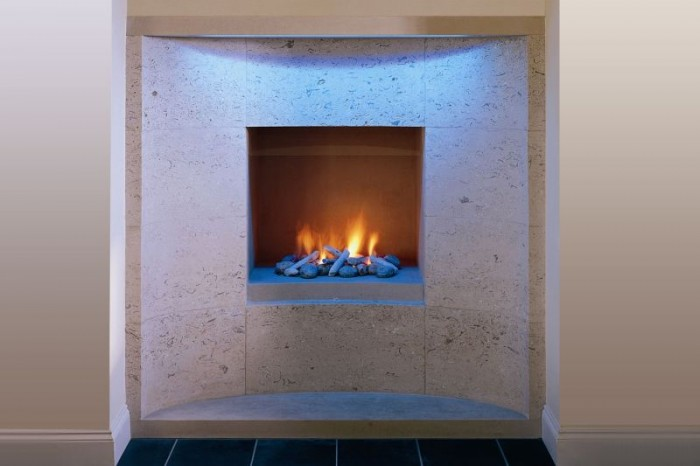 lighting natural stone fireplaces