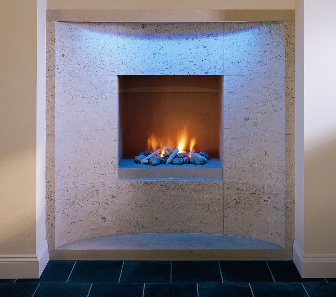 3. Portland Roach 'hole in the wall' fireplace with LED lighting – North Wales