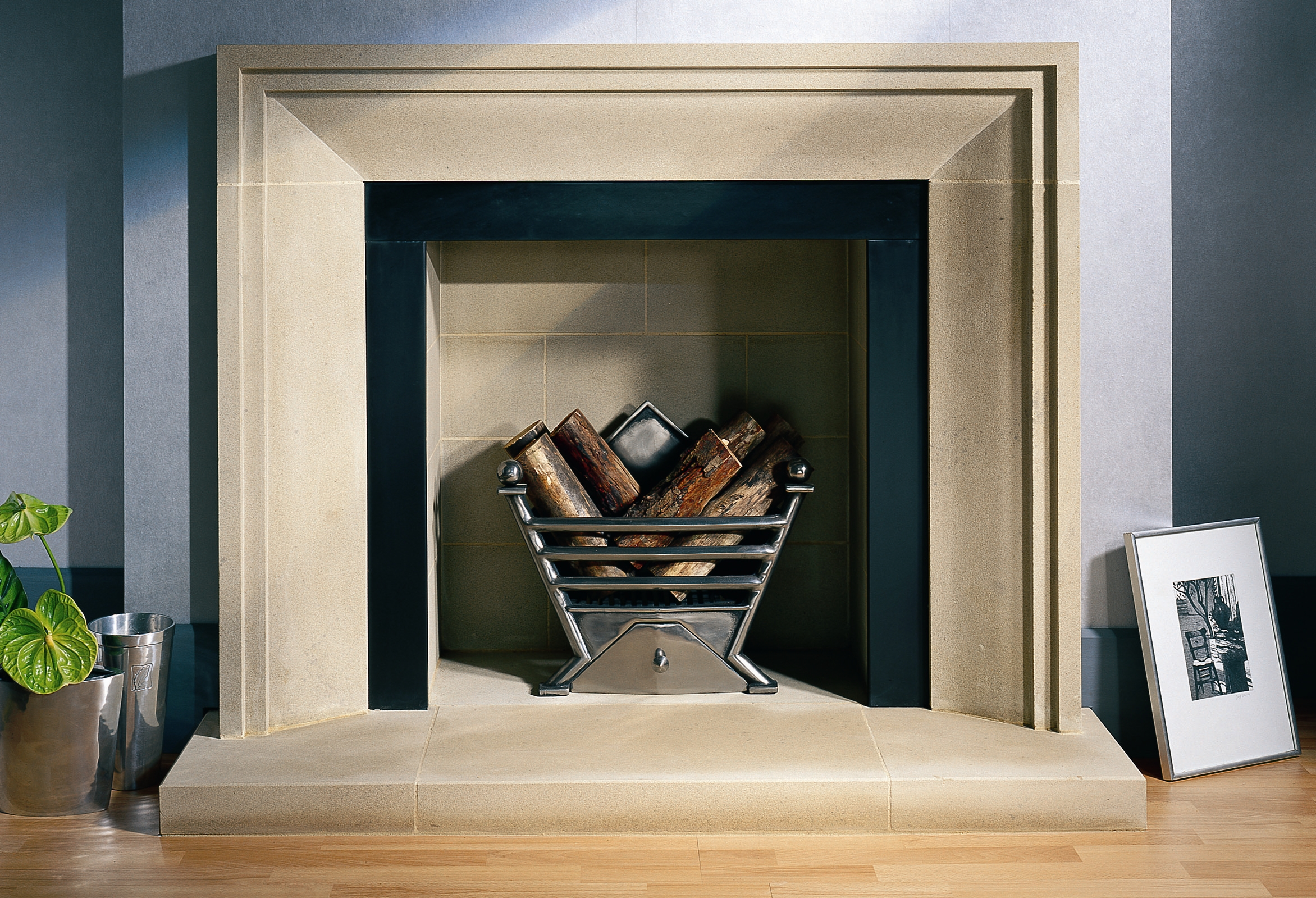 23. Derbyshire stone fire surround with slate slip and art deco basket – Kensington