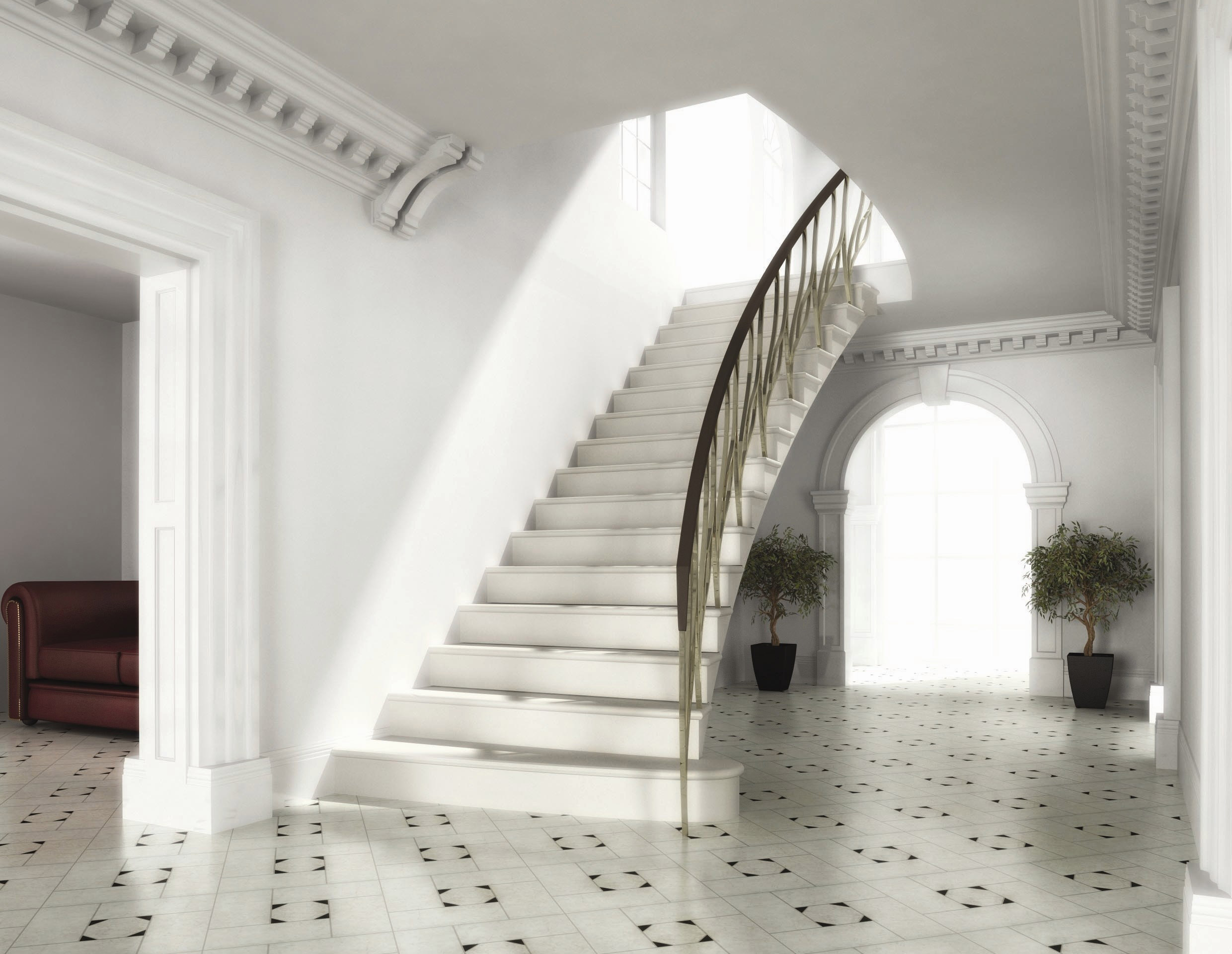 9. Straight Moleanos cantilever stone staircase with curved free end – Lancashire