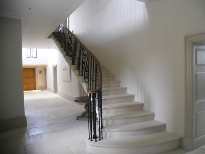 28. Portland stone staircase with aged Portland stone tiles – Cotswolds