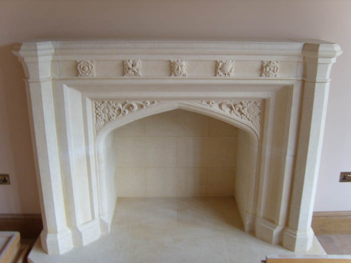 1. Lincolnshire limestone carved Gothic fireplace – Warwickshire