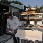 preparing the treads of a stone staircase