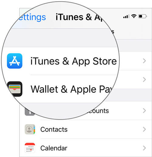 Tap on iTunes and App Store in iOS 13 Settings