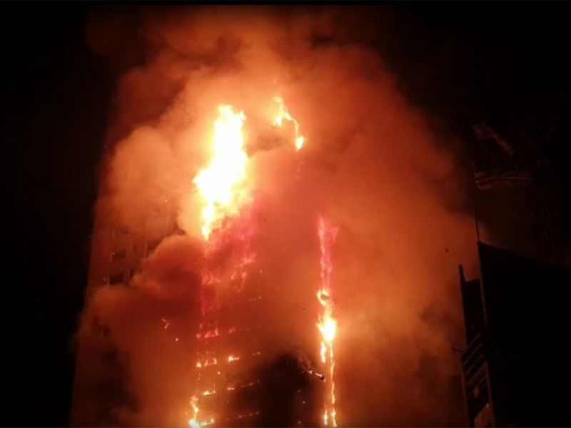 Fire engulfs residential Abbco Tower skyscraper in UAE