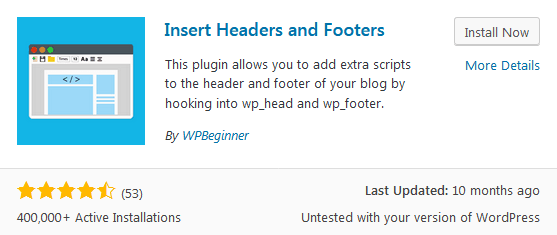 Insert Headers and Footers plugin for editing the WordPress header