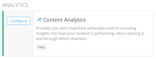 Shareaholic Analytics for content configuration button