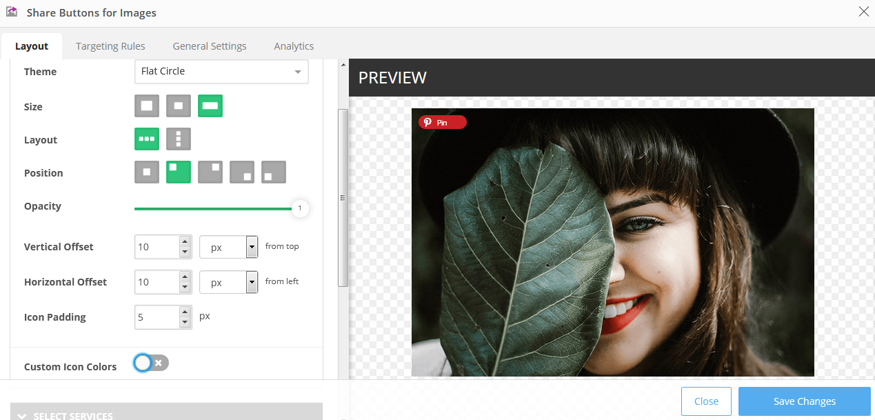 Shareaholic Share Buttons for images overlay settings