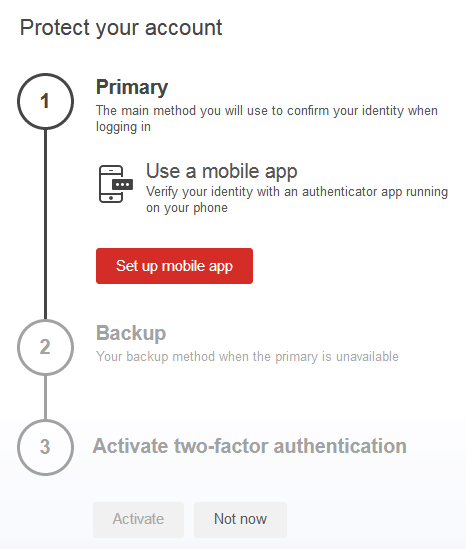 LastPass Authenticator primary mobile using the app setup