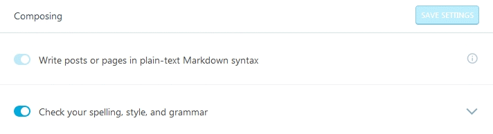 Jetpack Module Markdown settings box for posts or pages