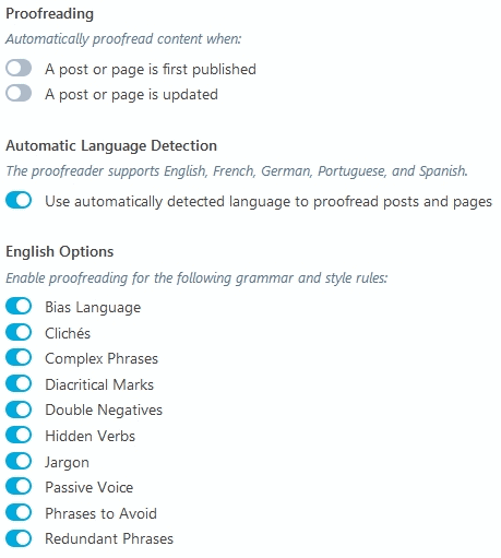 Jetpack Module Spelling and Grammar options for different settings like passive voice, double negatives, redundant phrases etc.