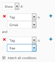 Jetpack Module Widget Visibility options showing rule creation