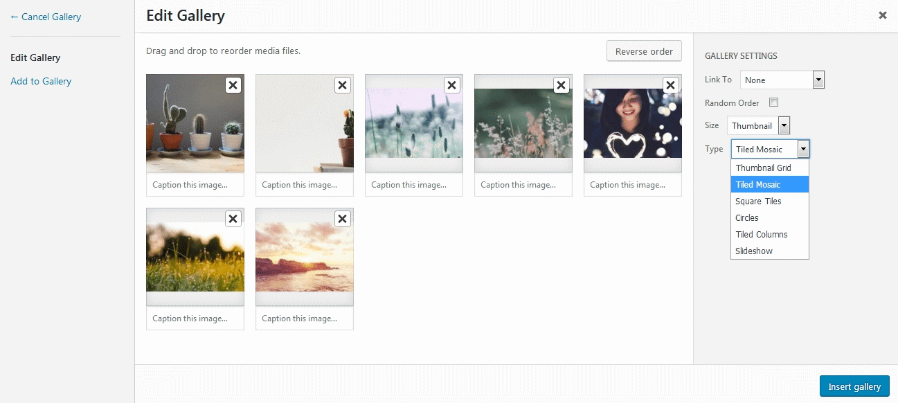 Jetpack Module Tiled Galleries customization screen with different types available
