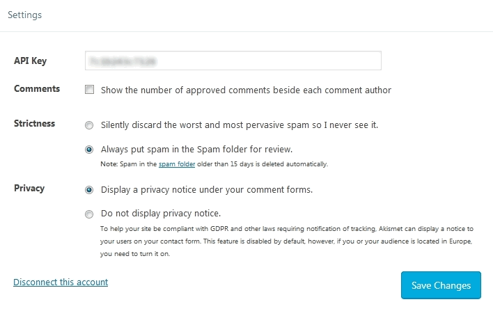 Jetpack Plugin Akismet Settings with options for comments, strictness, privacy and moderation
