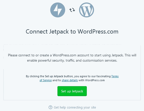 Jetpack Plugin screen to Connect Jetpack To WordPress with Set up button