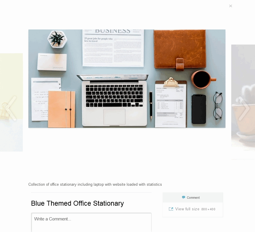 WordPress Carousel Slider example preview of full-screen view using the white colour scheme