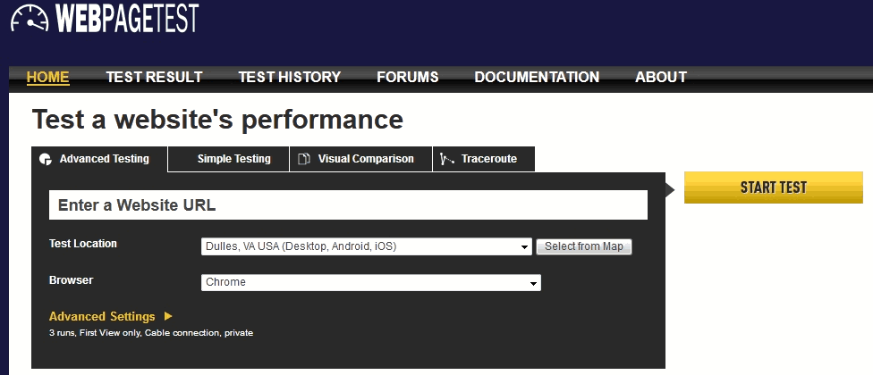 The website speed test tool webpagetest's test interface settings screen