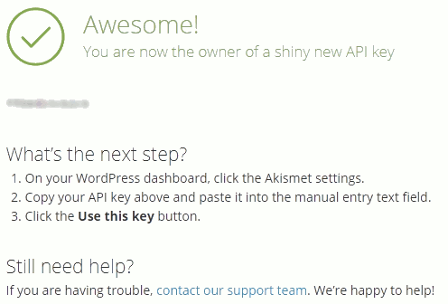 WordPress spam plugin Akismet's sign up complete screen with API key provided