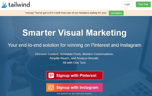 Tailwind Pinterest apps sign up page showing free credit at the top