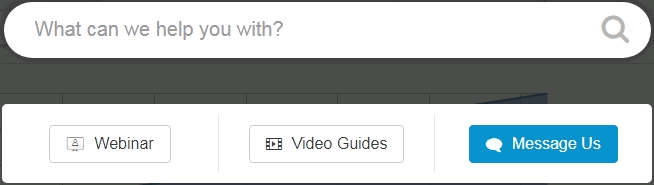 Tailwind Pinterest app schedulers support menu with options for webinar, video guides, or message us