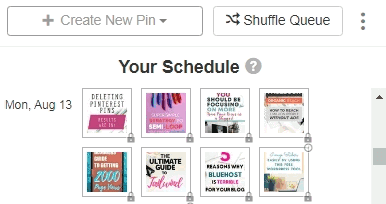 Tailwind Pinterest app schedulers preview of your smart schedule and create a new pin option