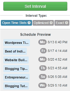 Tailwind Pinterest app schedulers example of interval time slots