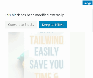 WordPress Gutenberg editor prompt to convert to block when HTML code edited