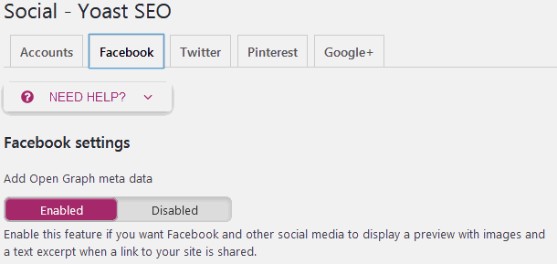 Yoast SEO Social media sharing setting to enable meta data for Facebook