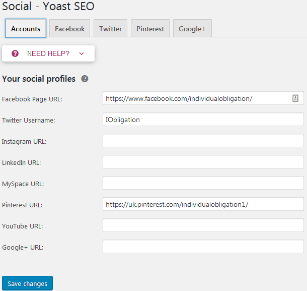 Social media sharing settings for Yoast SEO in the social menu
