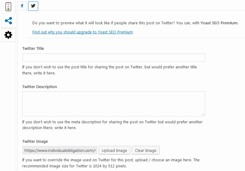 Yoast SEO Social media sharing setting for twitter title, description and image