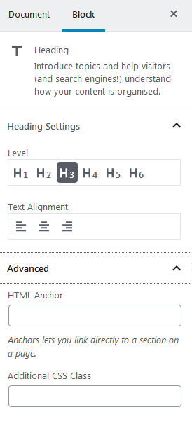 Wordpress gutenberg reusable blocks heading HTML anchor text for heading blocks