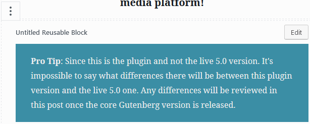 Wordpress gutenberg reusable blocks selected with edit button showing